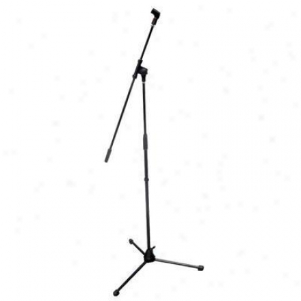 Pyle Tripod Microphone Stand W/ Extending Boom - Gloss Black Finish