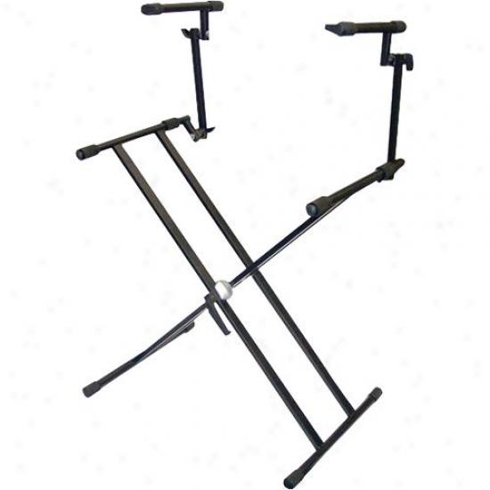 Pyle Two Tier Double X Braced Heavy-duty Dj Coffin/keyboard Stand - Pks60