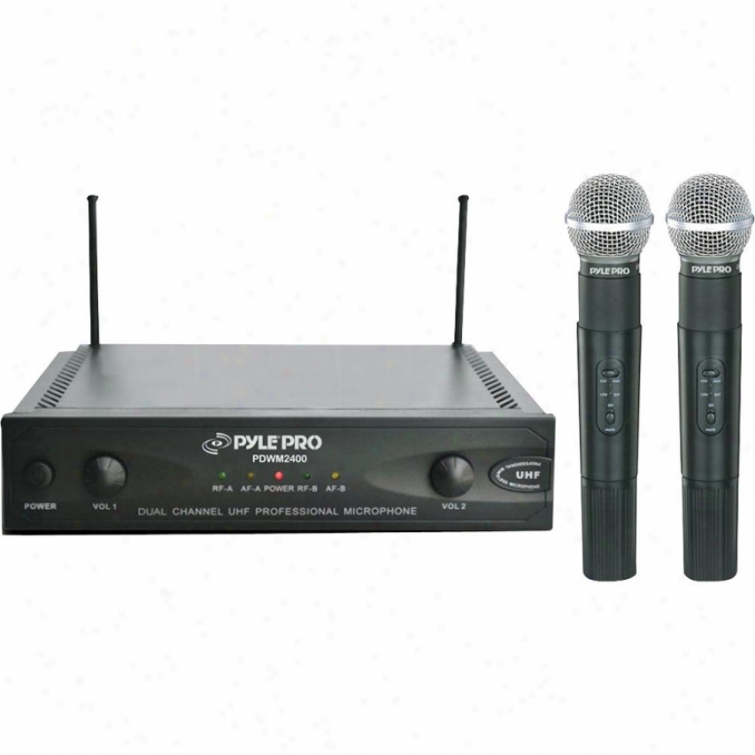 Pyle Wireless Dual Channel Uhf Microphone System With 2 Microphones