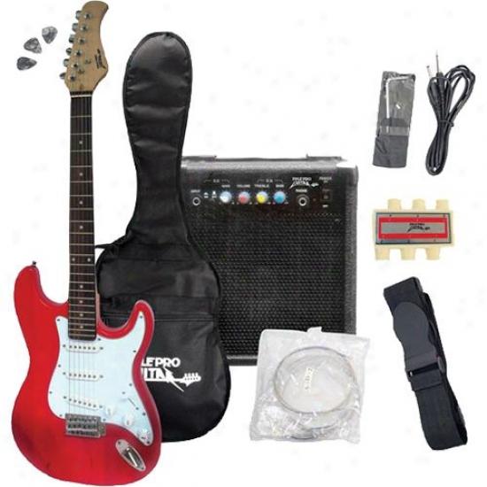 Pylepro Originator Electric Guitar Bundle - Red - Pegkt15