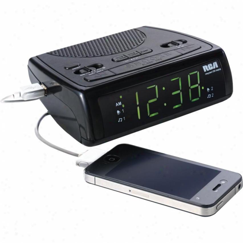 Rca Rc107 Am/fm Clock Radio W/ Uab Charging Port