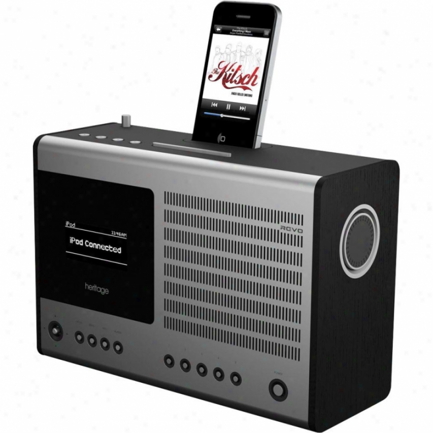 Revo Heritage Multi-format Table Clock Radio With Ipod Dock - Black