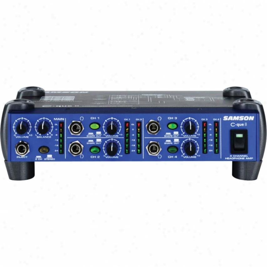 Samson Audio C-que 8 4-channel Headphone Amplifier W/ 2 Outputs Per Channel