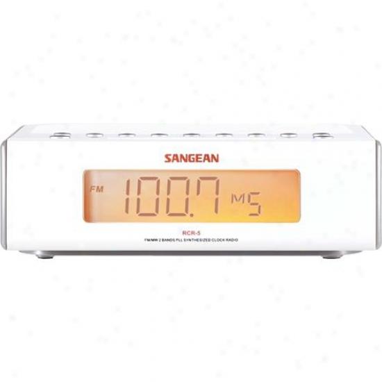 Sangean Rcr-5 Digital Tuning Clock Radio With Auxiliary Input - White