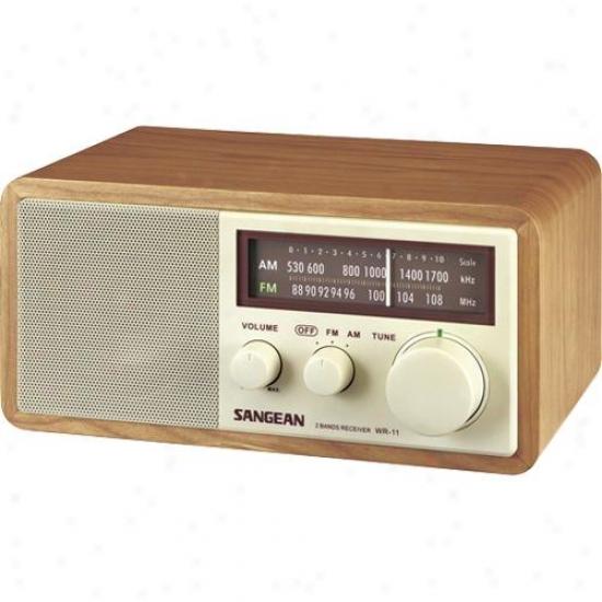 Sangeqn Wr-11 Am/fm Table Rasio In Wood Cabinet