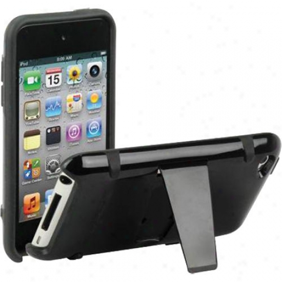 Scosche It4kbk Hybrid Kickback Case Wiht Kickstand For Ipod Touch 4 - Black