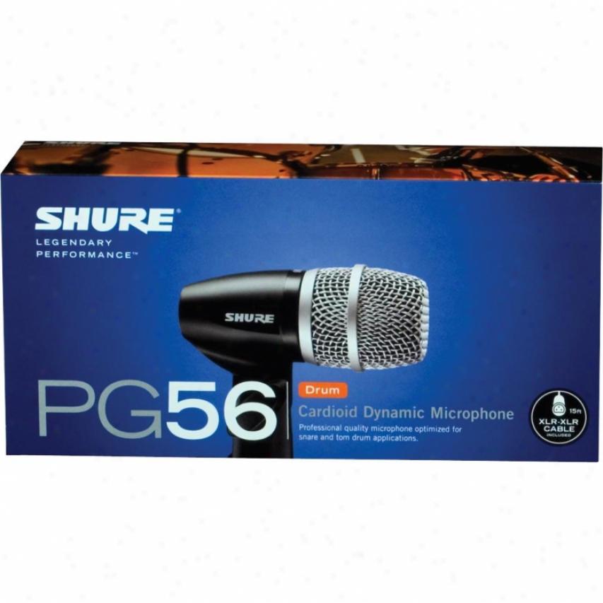 Shure Pg56-xlr Cardioid Dynamic Drum Snare/tom Mic W/ 15ft Xlr-xlr Mic Cable