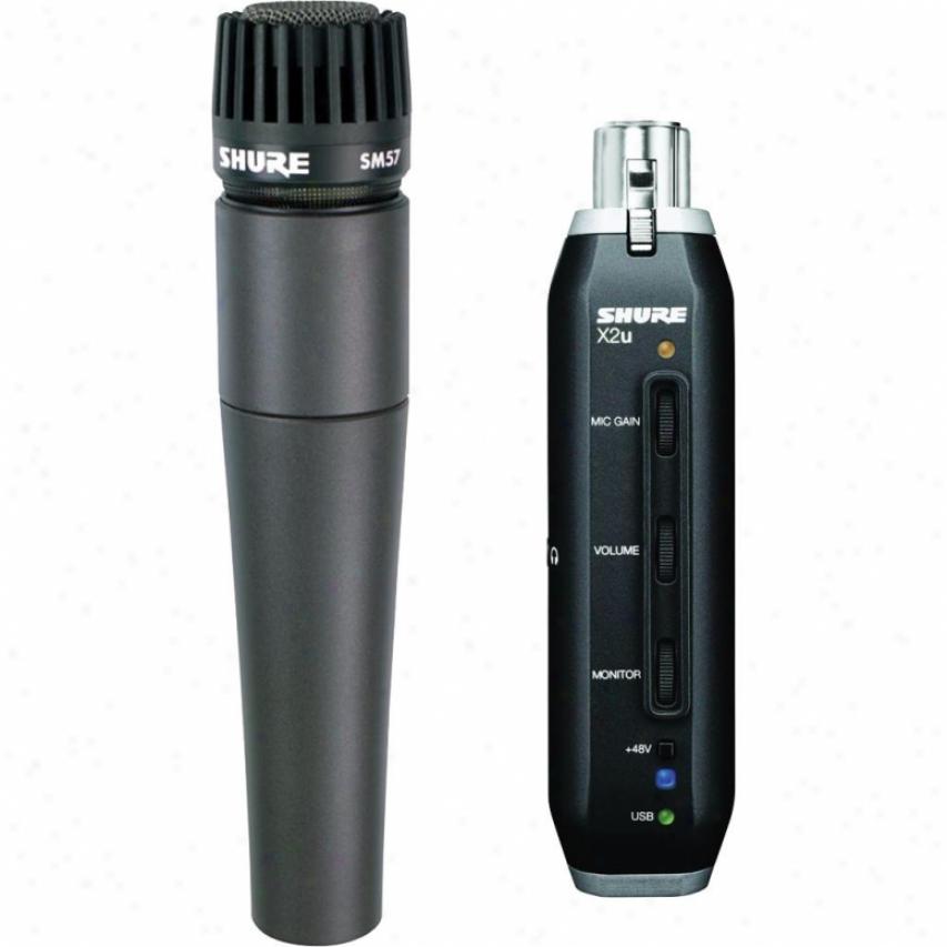 Shure Sm57-x2u Instrument Microphone With X2u Xlr-to-usb Adapter Bundle