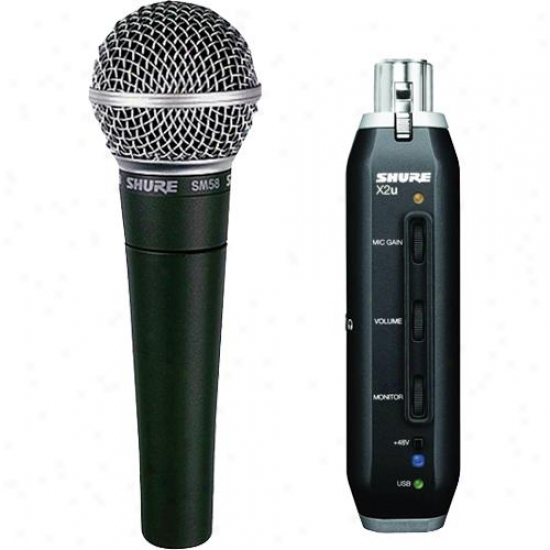 Shure Sm58-x2u Vocal Microphone With X2u Xlr-to-usb Adapter Bundle