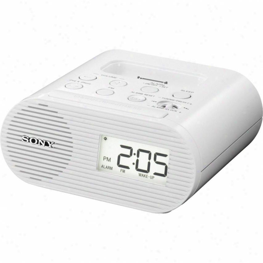 Sony Icf-c05ipwht Fm Alarm Clock Radio With Ipod Shorten - White