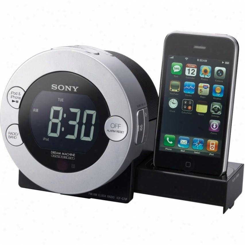 Sony Icf-c7il Alarm Clock Radio With Ipod / Iphone Dock