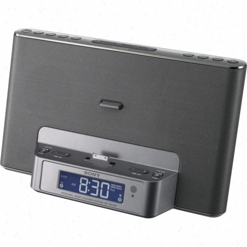 Sony Icf-cs15ip Am/fm Speaaker Dock Concerning Iphone &am; Ipod - Silver