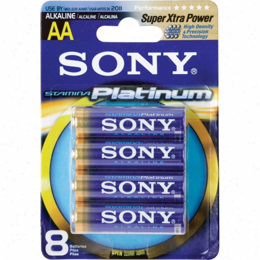 Sony Stamina® Platinum Aklaline Aa Battery -8 Pack Am4ptb8a