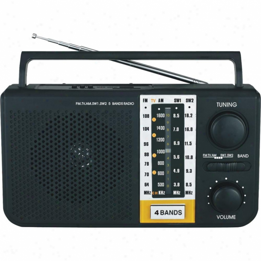 Supersonic 5 Band Am/fm/sw1/sw2/tv Radio Sc1085 - Black