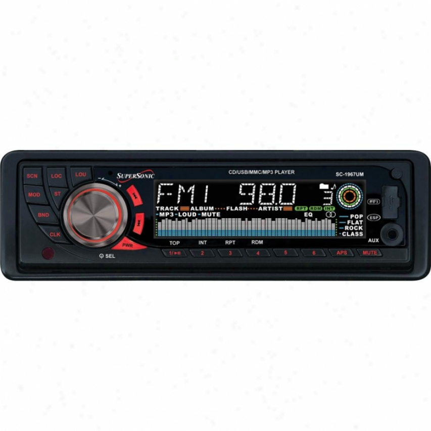 Supersonic Cd-mp3 Car Stereo Receiver Sc-1967um