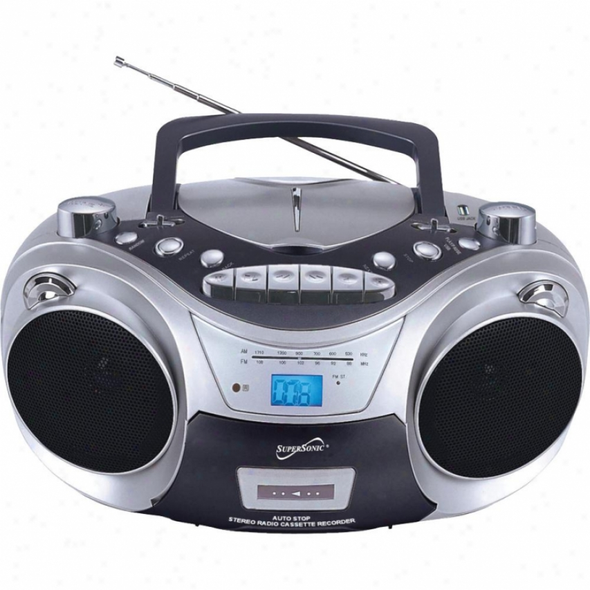 Supersonic Portable Mp3/cd, Cassette, Usb