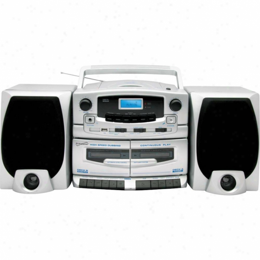 Supersonic Sc-2020u Portable Mp3/cd Player - Am/fm Radio And Cassette Recorder