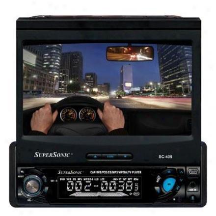 Supersonic Sc-409 7-inch Reach Veil Lcd Display W/ Dvd/cd/mp3 Receiver