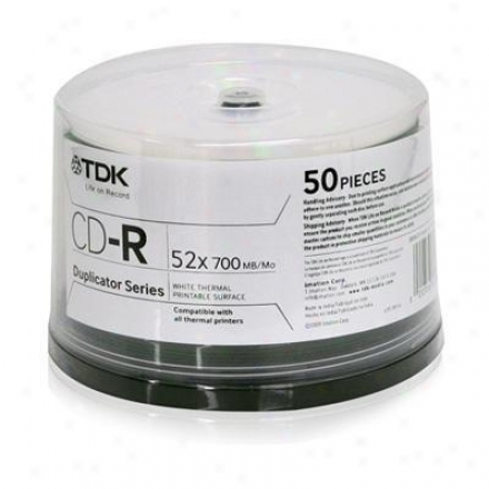 Tdk Cd-r 700mb 52x White 50pk