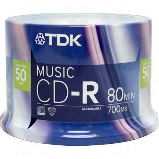 Tdk Cdr80cb50 Recordabl3 Music Cd Cdr-80 - 50 Pack