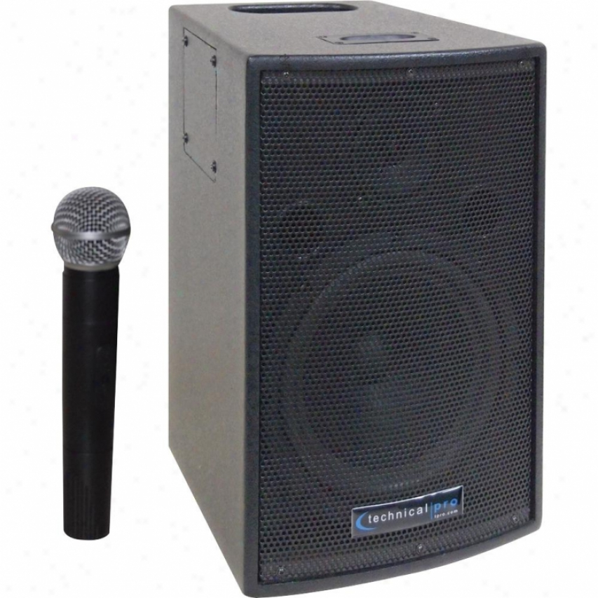 """Technical Pro 8"""" Battery Powered Pa System W/ Wireless Vhf Microphone - Wasp500"""