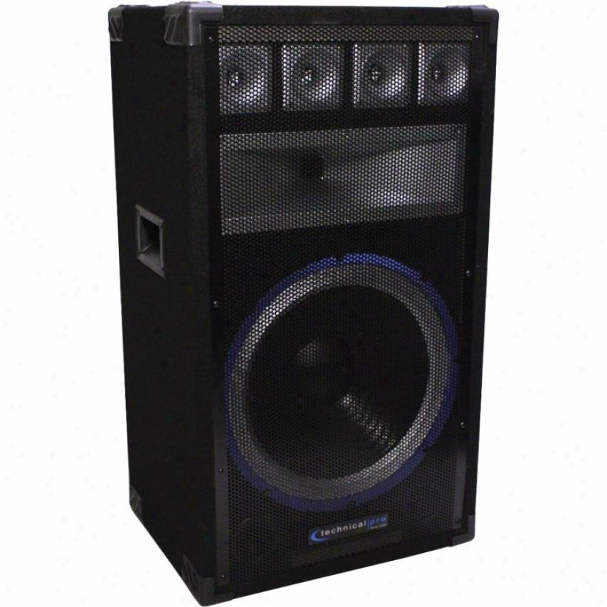 """Technical Pro Vrtx15 15"""" Six-way Carpeted Cwbinet Speaker W/ Steel Grill"""