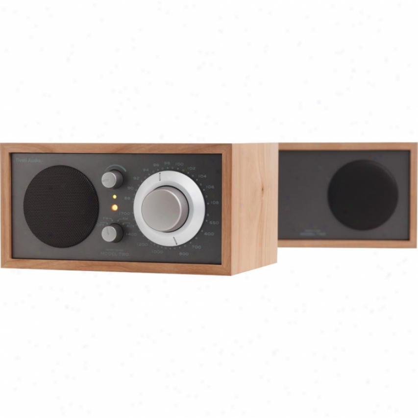 Tivoli Audio Henry-kloss Model Two Am/fm Stereo Radio In Taupe / Cherry