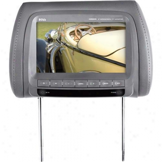 "Universal Car Headrest 9"" Widdscreen Tft Video Monitor - Grey"