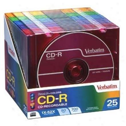 Verbatim Cd-r 52x 80min Color 25pk Sli