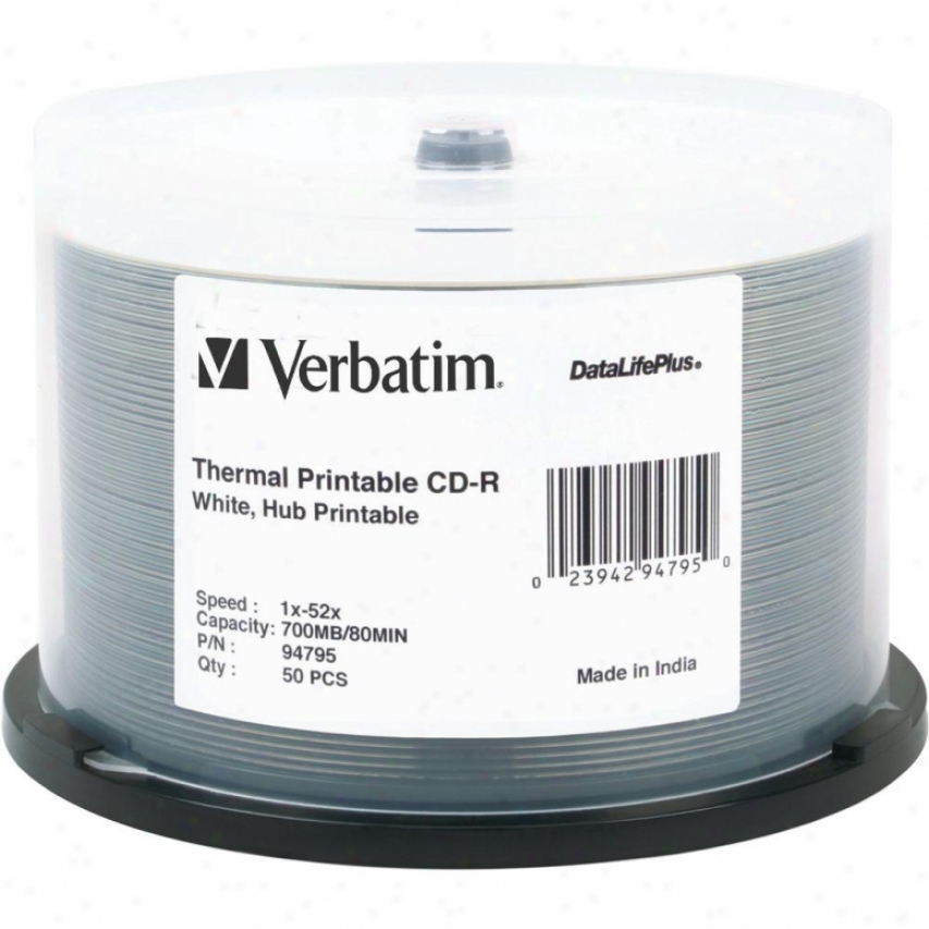 Verbatim Cd-r 80min Azo Whitethermal Printable Cdr Discs 94795