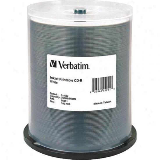 Verbatim Cd-r 80min White Inkjet Printable Cdr Discs 95251