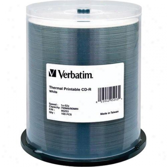 Verbatim Cd-r 80min White Thermal Printable Cdr Discs 95253