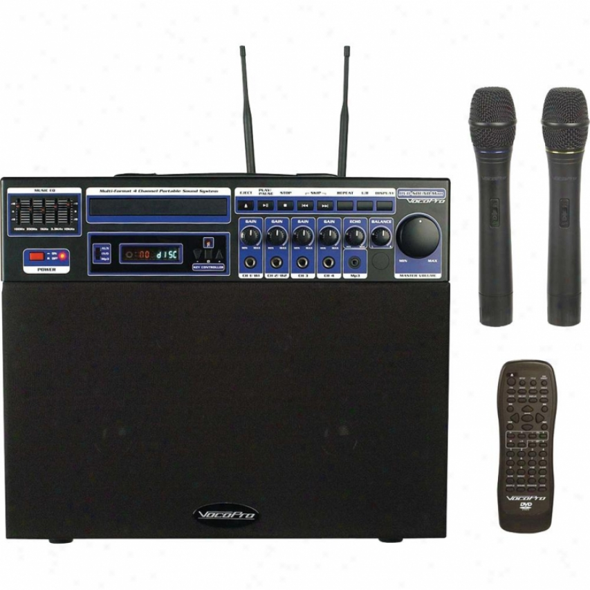 Vocopro Dvd Soundman Portable 4 Channel System W/ 2 Wireless Mics