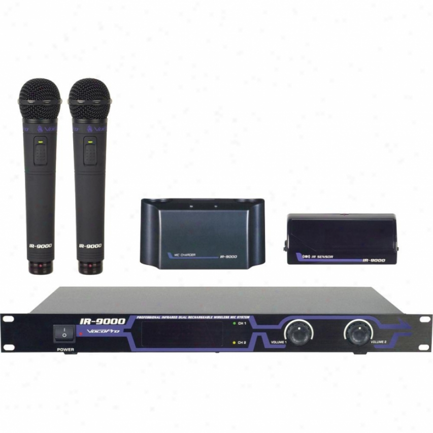 Vodopro Ir-9000 Infrared Dual Rechargeable Wireless Microphone System