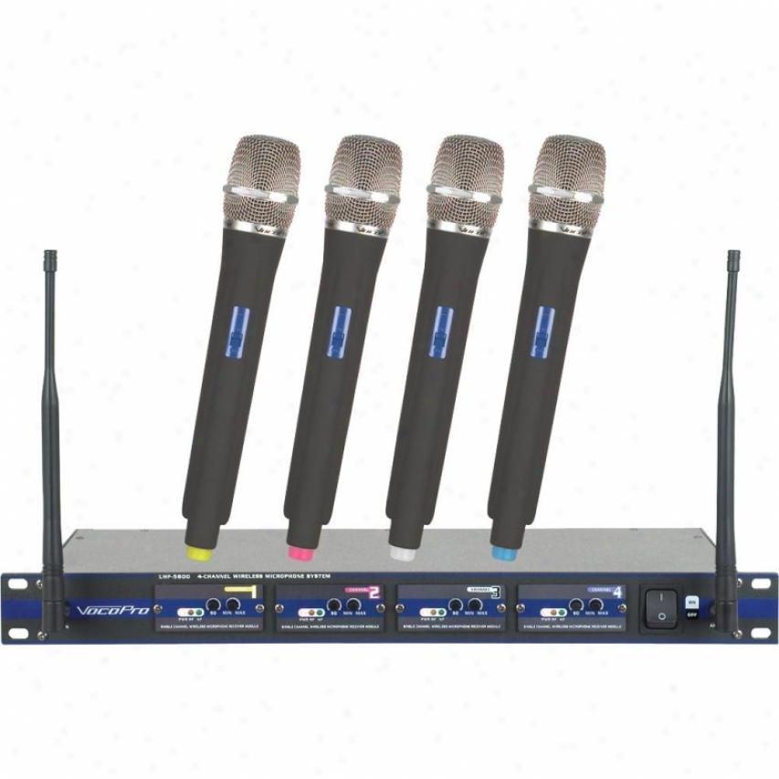 Vocopro Professional 4 Channel Uhf Wireless Micropphone System Uhf5800-4