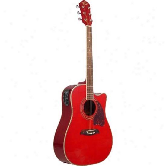 Washburn Oscar Schmidt Og2cetr Acoustic Guitar - Transparent Red