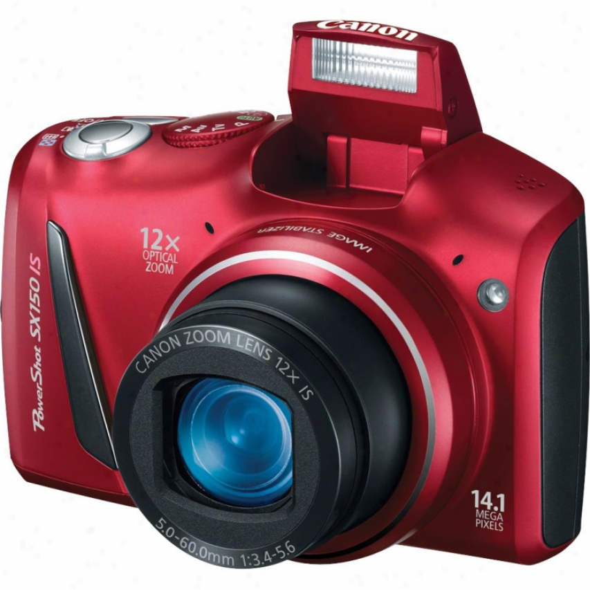 Canon Poweershot Sx150 Is 14 Megapixel Digital Camera - Red