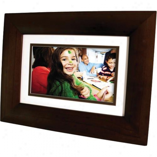 "Hp Df73p1 7"" Lcd Digital Photo Frame - Dark Espresso Wood"