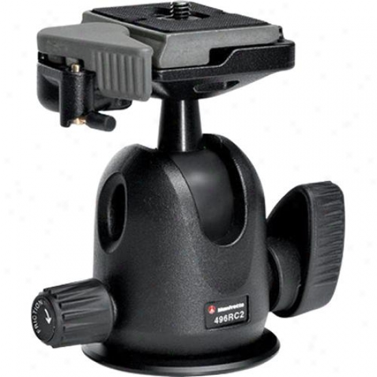 Manfrotto 496rc2 Compact Ball Head With Rc2 Against Tripod