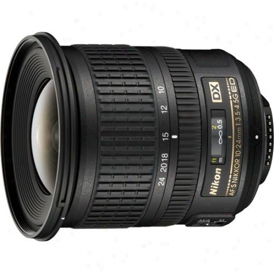 Nikon 10-24mm F/3.5-4.5g Af-s Dx oZom Nikkor Ed Lens With Hood, Cap, And Case