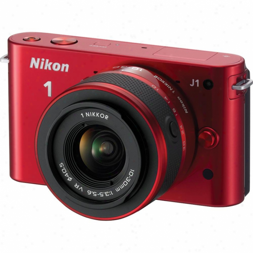 Nikon 10-megapixel 1 J1 Digital Camera With 10-30mm Vr Kit - Red