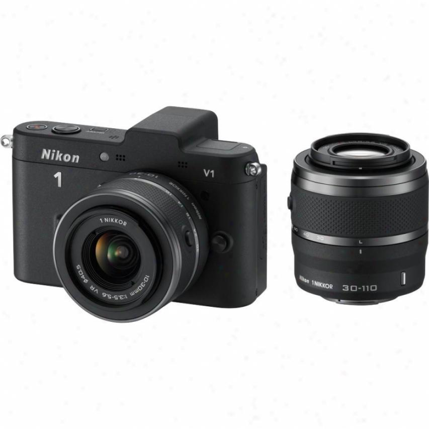 Nkkon 10-megapixel 1 V1 Digital Camera With 10-30mm Vr / 30-110mm Kit - Black