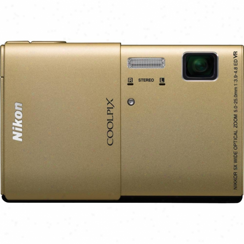 Nikon Coolpix S100 16-megapixel Digital Camera - Gold