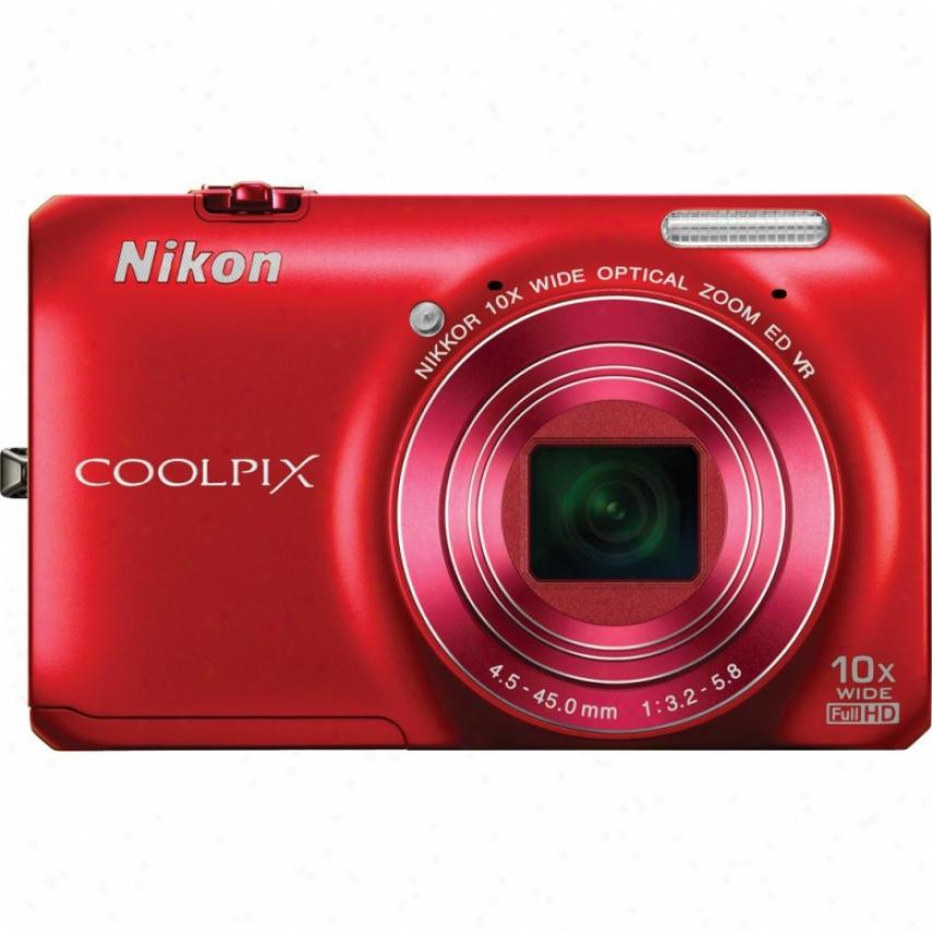 Nikon Coolpix S6300 16 Megapixel Digital Camera - Red