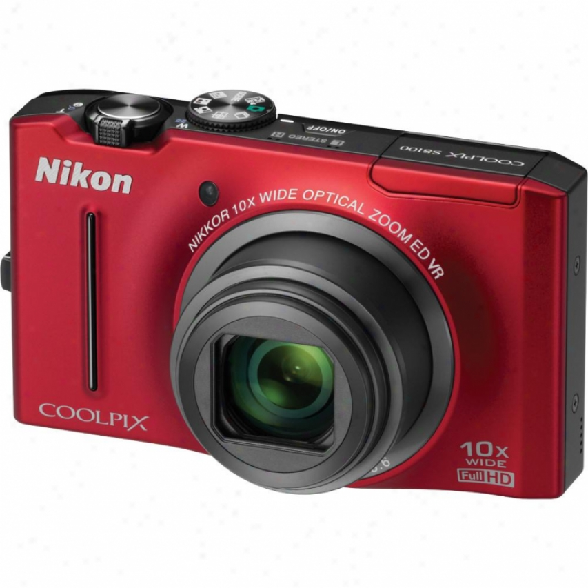 Nikon Coolpix S8100 12.1 Megapixel Digital Camera - Red - Refurbished