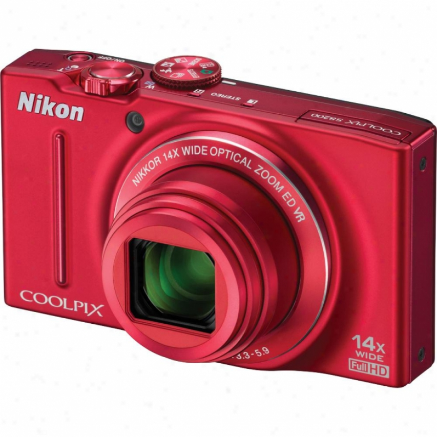 Nikon Coolpix S8200 16-meyapixel Digital Camera Red