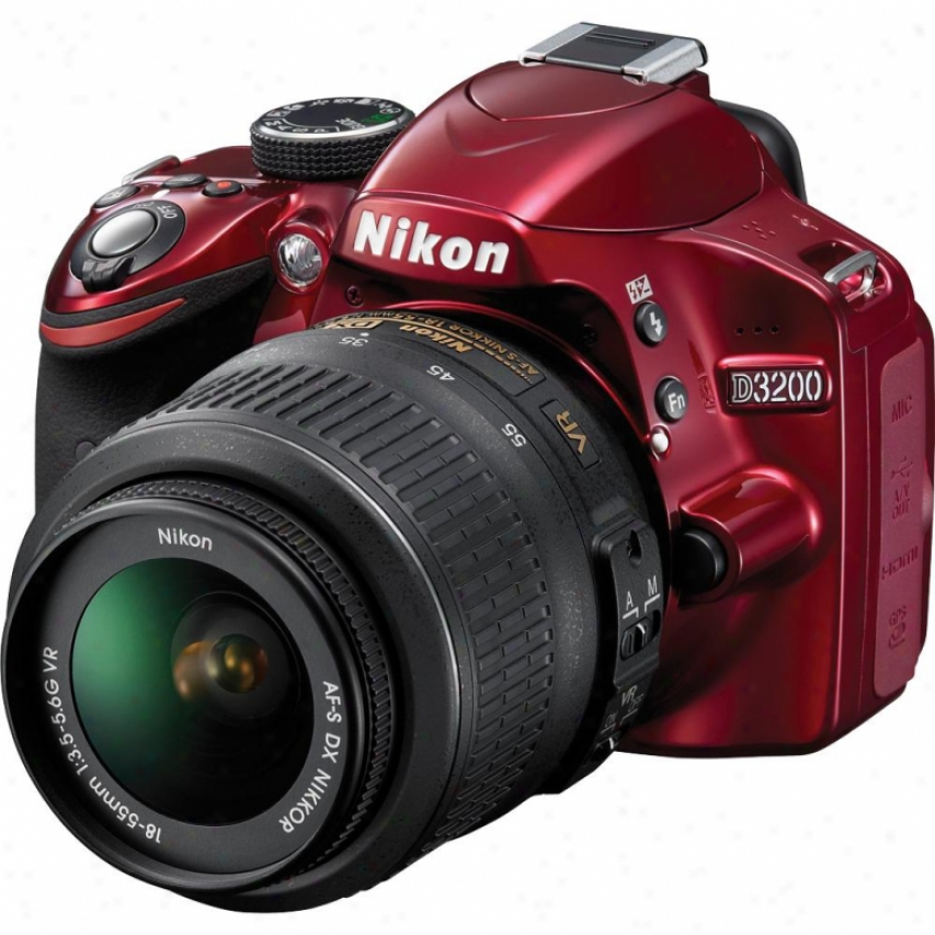 Nikon D3200 24 Megapixel Digital Slr Camera Kit - Red