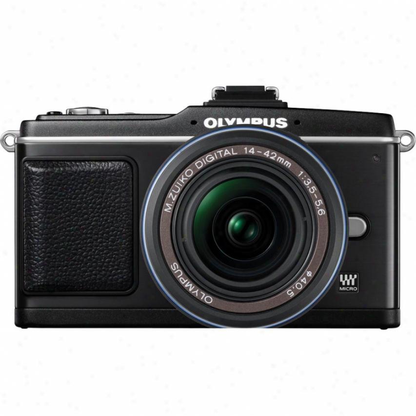 Olympus E-p2 12.3mp Pen Digital Camera W/ M.zuiko Digital Ed 14-42mm Lens -black
