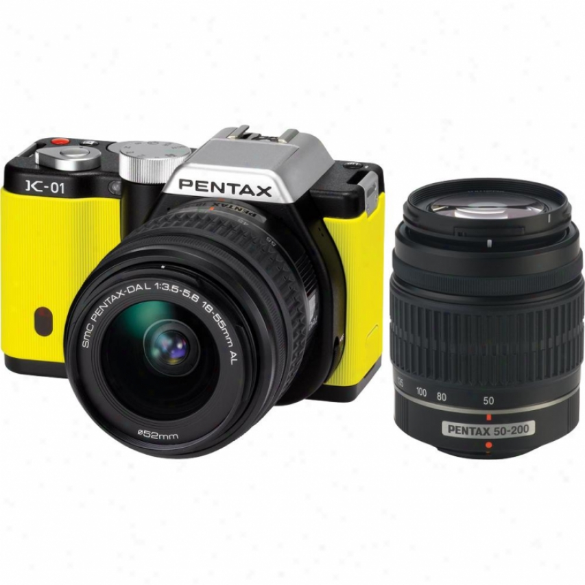 Pentax K-01 16 Megapixel Hybrid Digital Camera In the opinion of Dual Lens Kit - Yellow