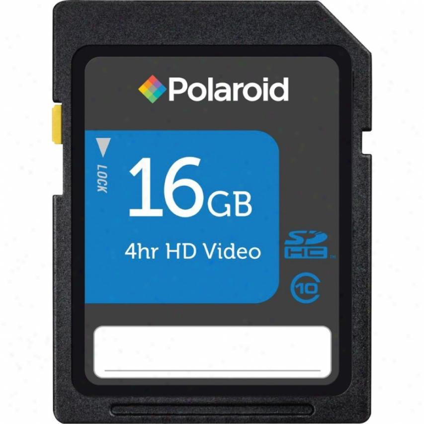 Polaroid 16gb Class 10 Sdhc Flash Memory Card - P-sdhc16g10-efpol